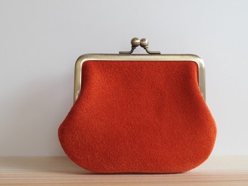 Square-shaped purse suede leather orange