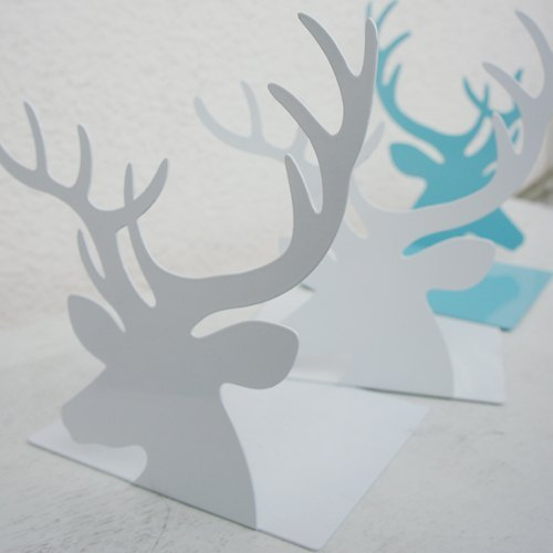 小东西 } 森林系小鹿书档 deer bookshelf (snow white/ tiffany blue, 2 in one)