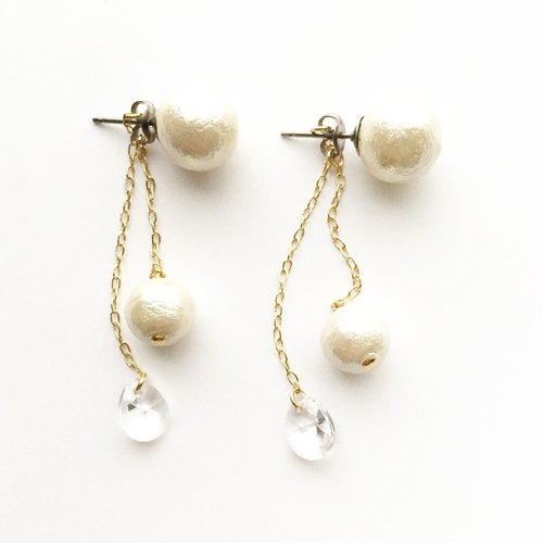 Cotton Pearl & Swarovski 2way Pierce (titanium post)