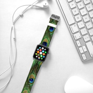 Apple Watch Series 1 , Series 2, Series 3 - Apple Watch 真皮手表带,适用于Apple Watch 及 Apple Watch Sport - Freshion 香港原创设计师品牌 - 孔雀图案