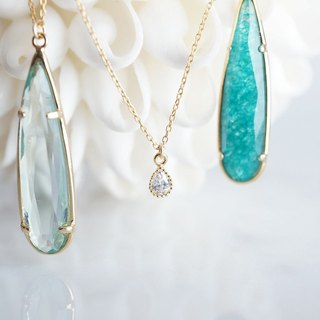 【14 KGF】 Necklace, Cubic Zirconia Tiny Teardrop