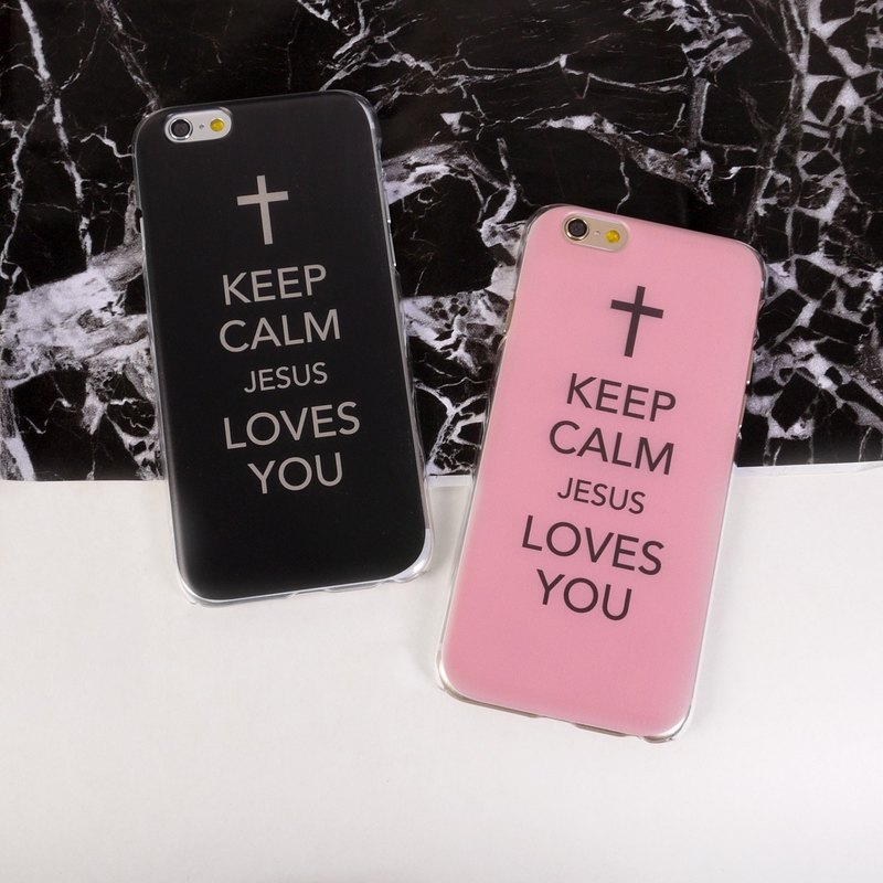 香港原创设计 黑色Keep Calm Jesus Loves You图案 (图左) iPhone X,  iPhone 8,  iPhone 8 Plus,  iPhone 7, iPhone 7 Plus, iphone 6/6S , iphone 6/6S PLUS, Samsung Galaxy Note 7 透明手机壳