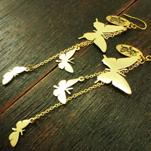 3 butterfly  earring  in brass hand sawing