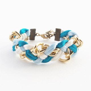 Blue mint white braided with gold chain bracelet.