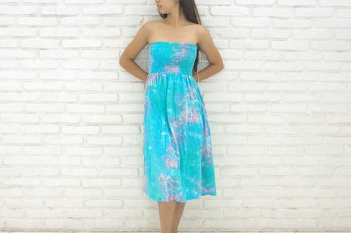 Uneven dyed Strapless dress <mint Blue Pink>