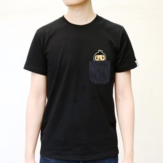 【BestFriend】BoyFriend Pocket T-Shirt / 03-BLACK (毛毛人头款)