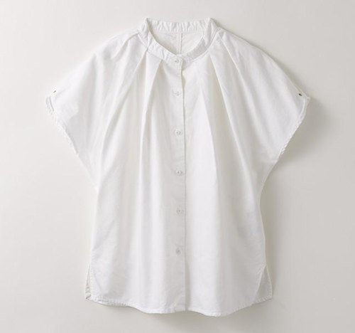 [Botanical die] white camellia dyed stand collar tuck shirt