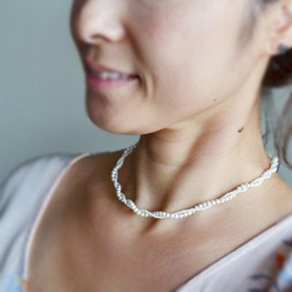Necklace freshwater pearl and 14KGF large and small pearl twist beautiful necklace / GraceN01