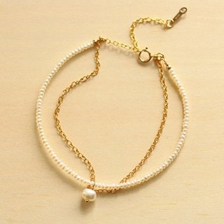 [Bracelet] in delicate like, such as the thread of freshwater pearl + 14KGF mature bracelet / ThreadBr01