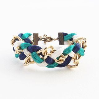 Navy blue, white, green mint braided with gold chain bracelet.