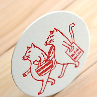 Letterpress coaster (The Cats) 6 pieces set