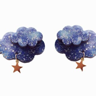 星空夹式 or 针式耳环 / wooden hoshizora earrings or clip on earrings