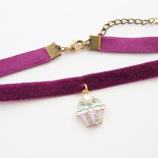 Purple velvet choker / necklace with cupcake charm.