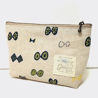 Butterfly ribbon pouch Cotton linen creation