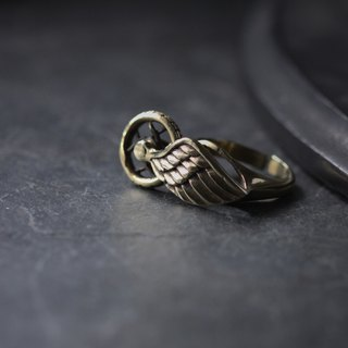 Wing and Wheel Ring by Defy - Adjustable Rings Jewelry - Metal Work Brass