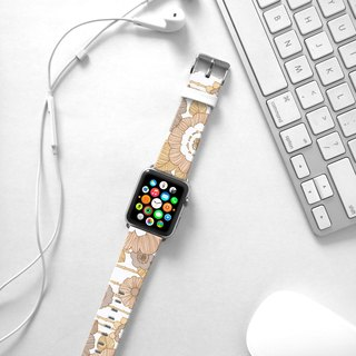 Apple Watch Series 1 , Series 2, Series 3 - Apple Watch 真皮手表带,适用于Apple Watch 及 Apple Watch Sport - Freshion 香港原创设计师品牌 - 米色玫瑰花纹 cr13