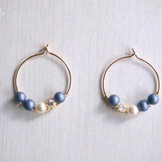 [14kgf] Swarovski pearl hoop earrings (Montana)
