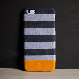 Alto iPhone 6S Plus 真皮手机壳背盖 Denim - 灰条纹 Gray Zebra