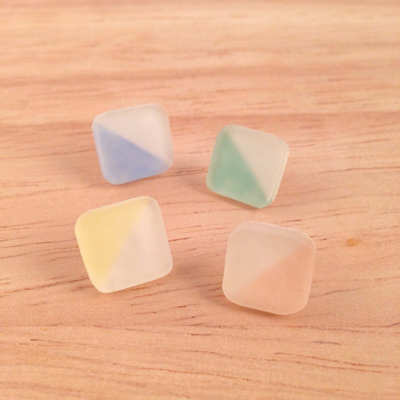 Frosted glass style square earrings