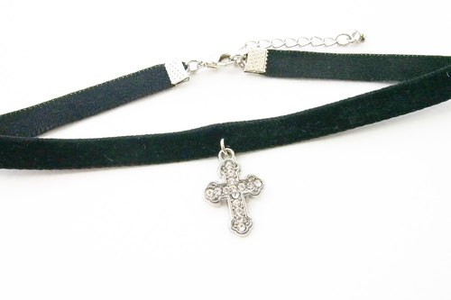 Black velvet choker / necklace with cross charm.