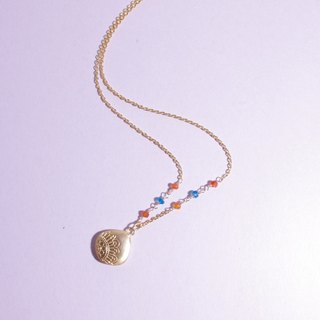 Carnelian-apatite Hand Draw necklace - Flower