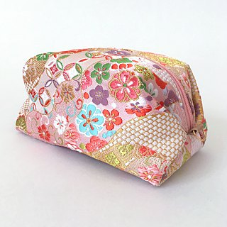 "Pouch with Japanese Traditional Pattern, Kimono (Large) ""Brocade"""