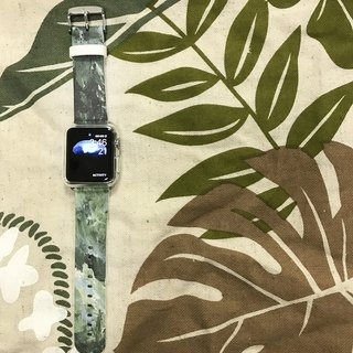 Apple Watch Series 1 , Series 2, Series 3 - Apple Watch 真皮手表带,适用于Apple Watch 及 Apple Watch Sport - Freshion 香港原创设计师品牌 - 绿色油彩图纹 09