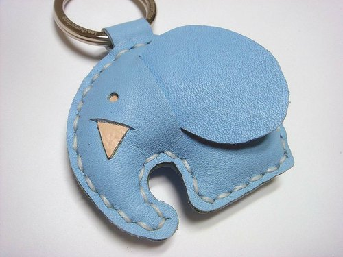 {Leatherprince 手工皮革} 台湾MIT 蓝色 可爱 大象 纯手工缝制 皮革 钥匙圈 / New Laura the Elephant Leather Keychain ( Blue )