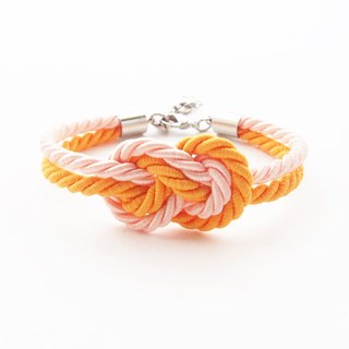 Orange infinity knot rope bracelet
