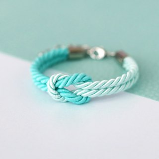 Mint / Light mint knot rope bracelet.