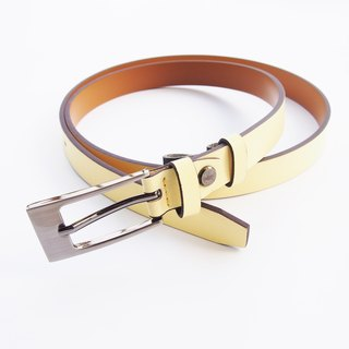Light yellow genuine leather woman belt with smoked black buckle, cut to size, yellow leather belt, yellow belt, leather belt.