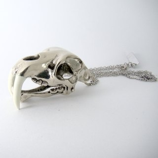 Saber tooth pendant in white bronze and oxidized antique color ,Rocker jewelry ,Skull jewelry,Biker jewelry