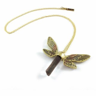 Brass Dragonfly wing pendant with smoky raw quartz stone and enamel color