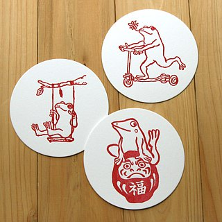 Letterpress coaster (frog) 6 pieces set