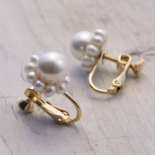[Pierce] freshwater pearl / pearl shell + 14KGF girly earrings / DollPr02