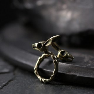 Rabbits Skull Ring by Defy - Original Brass Handmade Jewelry - Statement Ring