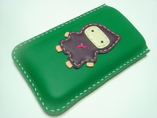 {Leatherprince 手工皮革} 台湾MIT 绿色 可爱 忍者 iPhone 纯手工牛皮保护套 / Taka the Ninja iPhone leather case ( Green / Purple )