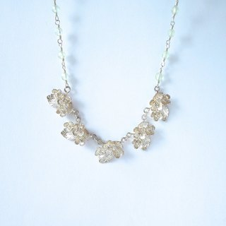 Hydrangea and natural stone necklace