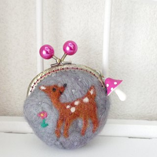 Wool felt gypsy gray Bambi pearl ball
