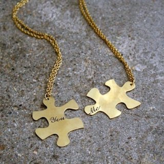 Couple pendant Jigsaw you&me in brass hand sawing ,Rocker jewelry ,Skull jewelry,Biker jewelry