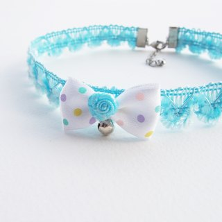 Blue lace choker / necklace with polka dot bow and silver bell.