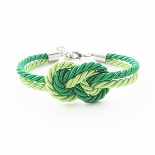 Green infinity knot rope bracelet