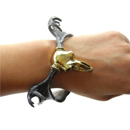 Moose Skull bangle in brass Rocker jewelry ,Skull jewelry,Biker jewelry
