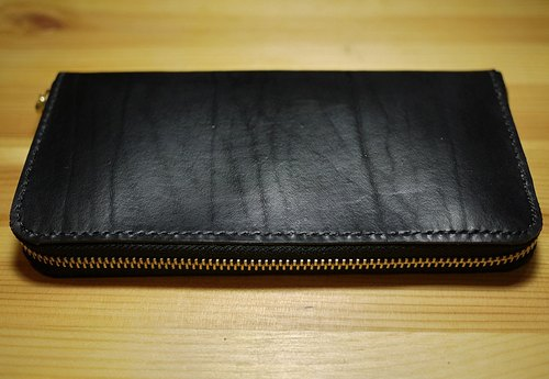 小岛手工拉链长夹 Leather Zip Around Wallet