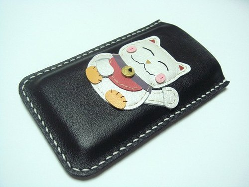 {Leatherprince 手工皮革} 台湾MIT 黑色 招财猫 iPhone 纯手工牛皮保护套 / Makiyo the Maneki Neko iPhone leather Case ( Black )