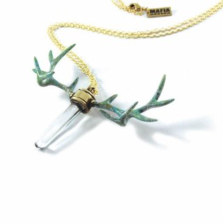 Patina Stag horn pendant with clear raw quartz stone and patina color