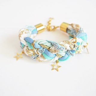 Blue and white braided bracelet - gold tiny star pendants- rope bracelet - friendship bracelet