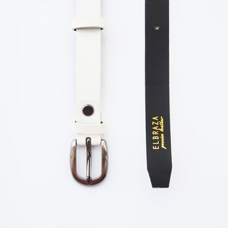 White genuine leather woman belt with smoked black buckle, cut to size, white leather belt, white belt, leather belt.