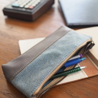 Stonewashed canvas and leather pencil case