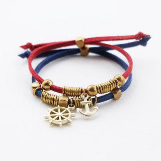 Red/Navy blue anchor ship-wheel charms with brass materials - set bracelets